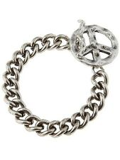 Peace Sign Toggle Bracelet Chunky Chain Link Silver New Fashion Jewelry