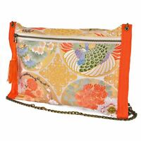 Kimono & Obi Silk Handmade Clutch Bag,Gold & Orange Geometric Handbag,From Japan