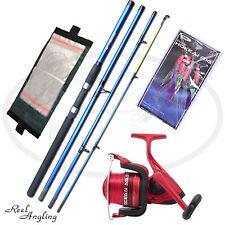 Sea Fishing Kit Travel 4piece Rod OceanMaster 60 Reel  Line Mackeral Rigs Wallet