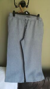 Ladies M&S Collection Cropped Linen mix wide leg trousers Plus Size 20 Immaculat
