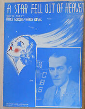 A Star Fell Out of Heaven - 1936 vintage sheet music - Frank Daily photo cover