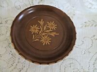 """Reuge Hand Carved Wood Rotating Plate Musical Eidelweiss Design 7"""" Dia."""