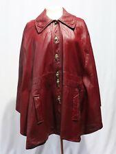 Vintage Red Faux Leather Cape Jacket Coat