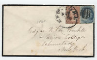 c1860 1ct and 3 ct 1857 #24 and #26 on NYC mourning cover [y3641]