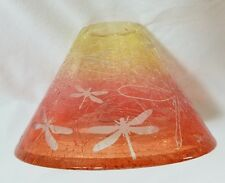 Yankee Candle SANDBLAST ORANGE Crackle Candle Jar Shade Dragonfly 1544560
