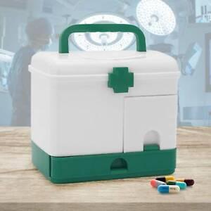 Portable First Aid Box Emergency Case Safe Lockable Medicine Storage Box