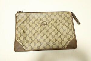Authentic Gucci Canvas PVC Clutch bag Pouch #7551