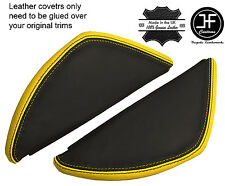 BLACK & YELLOW LEATHER 2X DASH END SIDE TRIM COVERS FITS VW T5 TRANSPORTER 03-11