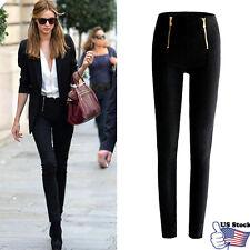 Lady Women Zip Pencil Pants High Waisted Slim Stretch Leggings Trousers Pants US