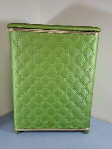 Vintage Hawkeye Clothes Hamper Green Quilted Hollywood Regency Burlington Iowa