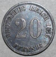 German Empire 20 Pfennig Coin 1875 G Karlsruhe KM# 5 Silver .900 Germany Twenty