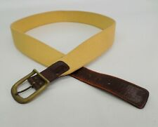 Trafalgar Surcingle Belt 40 Canvas Leather Distressed Yellow Chestnut Brown Vtg