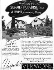 1938 Vintage Print Ad of Unspoiled Vermont Summer Home in the Green Mountains