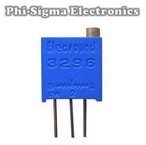 5 Pack - 3296 Multi-turn Potentiometers (Variable Resistors/Preset/Trimmer/Pot)