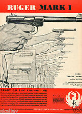 1957 Print Ad of Ruger Mark I .22 Target Model ready on the firing line