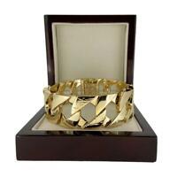 27mm Heavy Chunky 18k Gold gf Lizard Bark 9 inch Curb Cuban Bracelet for Men