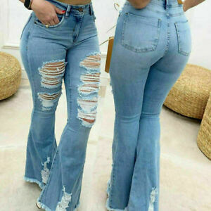 Women's High Waist Striped Flare Denim Pants Ladies Ripped Hole Jeans Trousers