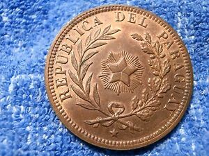 PARAGUAY: SCARCE 4 CENTESIMOS 1870 VERY THICK COPPER COIN ABOUT UNCIRCULATED