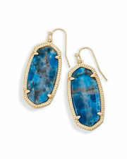 Kendra Scott Elle Dangle Earrings in Aqua Apatite and Brass