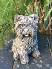 STONE GARDEN YORKSHIRE TERRIER YORKIE DOG PUPPY ANIMAL GARDEN ORNAMENT / PRESENT
