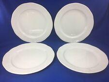 LILIEN Pozellan EMBOSSED SCROLLS White DINNER PLATES Restaurant Ware SET OF 4 #B