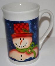 Snowman with Carrot nose Tall Latte Coffee Mug Tea Cup Folk Art