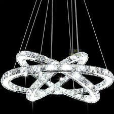 Modern Crystal 3 Rings Chandelier Contemporary Pendant Light for Dining Room