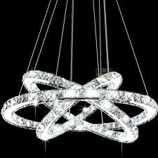 New Crystal 3 Rings Pendant Light Ceiling Lamp Circles Chandelier LED Lighting
