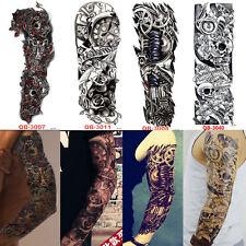 4x Full Arm Sleeve Temporary Tattoo Skull & Clock Tribal Polynesian Body Sticker