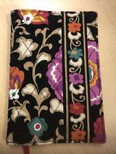 "VERA BRADLEY SUZANI BOOK COVER EXCELLENT CONDITION 7.5"" X 5"" Black Plum Floral"