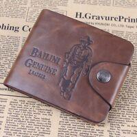 Fashion Mens Leather Wallet Bailini Hunter Brown Cowboy Card Clutch Bifold Purse