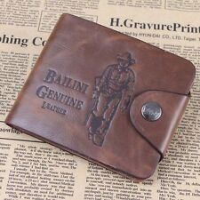 Fashion Mens Leather Wallet Bailini Hunter Brown Cowboy Card Clutch Bifold Purse