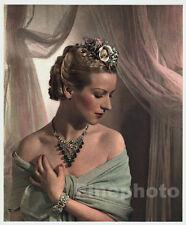 1935 Vintage 11x14 FEMALE FASHION Portrait By HORST Color Photo Art Jewelry Hair