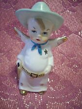 Vintage Cow Boy Angel Holds Gun w/ Orig Sticker Figurine Very RARE