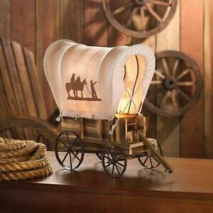 Rustic Brown Iron Fabric Material Western Wooden Wagon Stylish Table Lamp