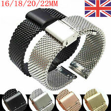 16/18/20/22mm Stainless Steel Milanese/Thin Mesh Watch Strap Bracelet Clasp UK