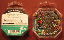 48mm x 0.65mm  100count PLASTIC HEAD HARD STEEL PIN QUILTING,DRESSMAKING--ASST