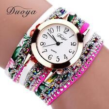 Luxury Women Watch Bracelet Crystal Leather Dress Analog Quartz Wrist Watch Gift
