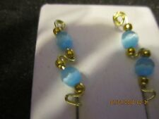 Pair Blue Cat Eye Ear Vines Climbers Ear Pins Gold Tarnish Resistant Wire