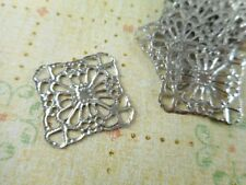 20 Antique Silver Plated Square Filigrees Findings 41980