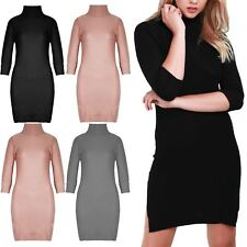 Womens Ladies Waffle Cowl Neck Chunky Knit Roll 3/4 Sleeve Longline Jumper Dress