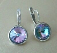 Beautiful silver plated EARRINGS with colourful Zirconia Lovely gift UK seller