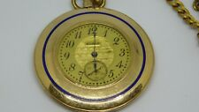 POCKET WATCH VERY THIN WITH BLUE ENAMEL AND A FOB