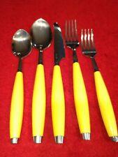 Vtg 5 pc Fiesta Fiestaware Yellow Silverware Spoon Fork Knife Flatware Set