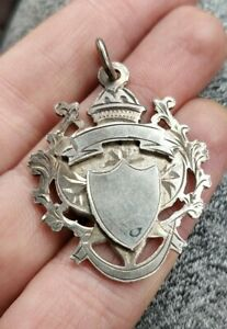 Antique pierced solid sterlng silver pocket watch albert chain fob just over 10g