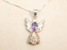 Jewellery- 9ct Gold & Sterling Silver Amethyst Pendant & Chain -Deceased Estate