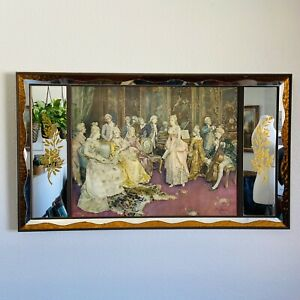Large Vintage Mirror Ornate Rectangle Mirror with print 19th