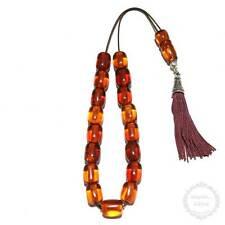 Amber Resin 17 beads 13x16mm Handmade Komboloi - Greek Worry Beads - Rosary