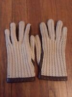 Vintage Franklin Simon Womens Gloves Knit Leather Brown Beige Crochet Small S