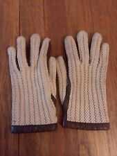 Vintage Franklin Simon Womens Gloves Knit Leather Brown Beige Crochet Small